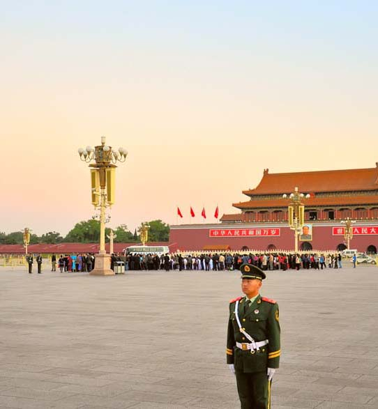 Beijing. Guard of honour on Tiananmen Square